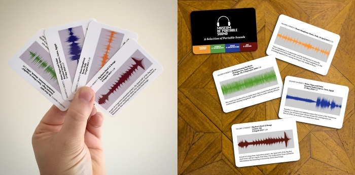 A deck of 50 cards featuring sounds from the Museum of Portable Sound Permanent Collection.