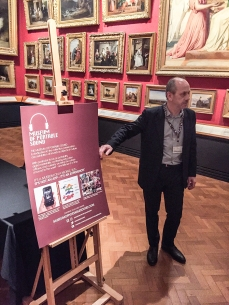 Eric de Visscher posing with the Museum of Portable Sound information display at the end of a highly successful evening!