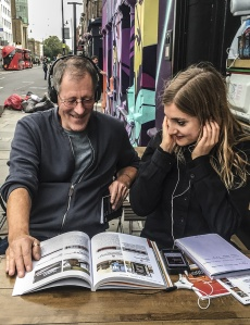 A father/daughter duo during an al fresco visit to the Museum of Portable Sound in 2018.