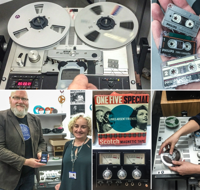 A collage of images from the Keep Sounds archive in Brighton, including reel to reel tape machines, a VU meter, micro cassettes, and the Director of the Museum of Portable Sound