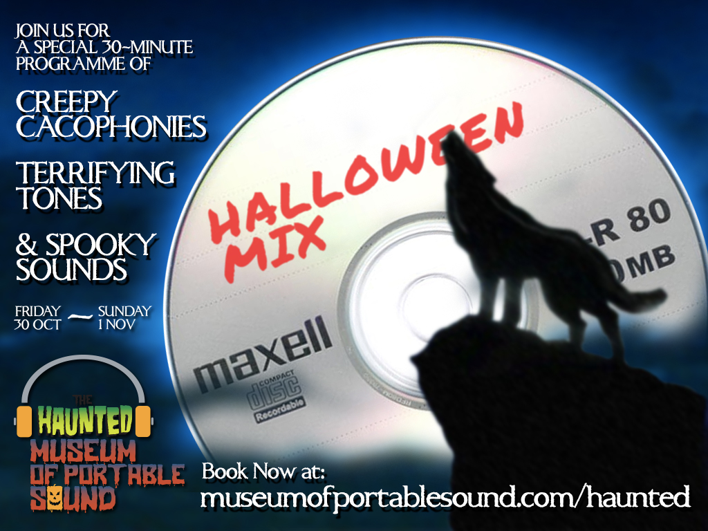 Wolf howling at the moon which is actually  CD-R with the words 'Halloween Mix' written on it in red Sharpie®
