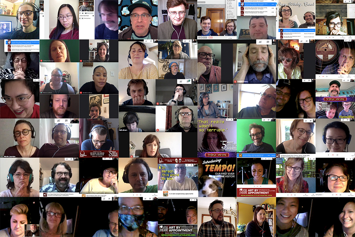 A series of screenshots of online visitors to the Museum of Portable Sound.