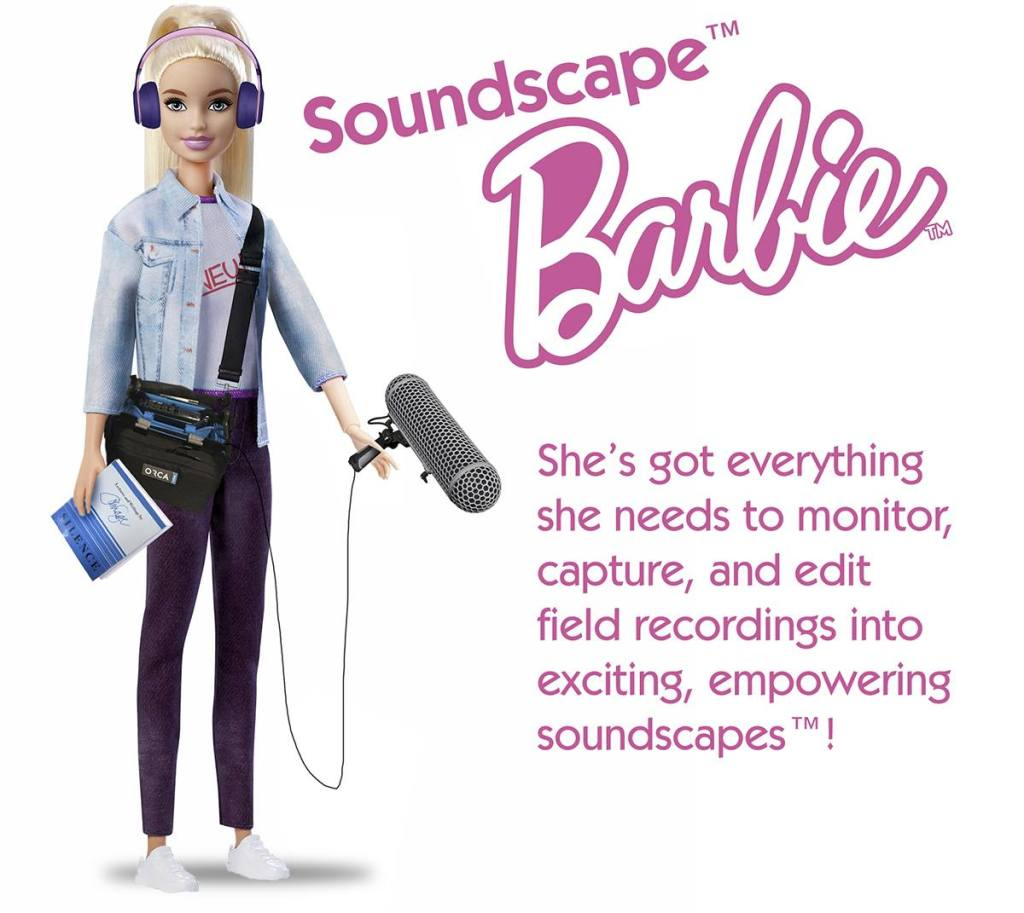 """The original Soundscape™ Barbie image, featuring the Soundscape™ Barbie logo and the tagline """"She's got everything she needs to monitor, capture, and edit field recordings into exciting, empowering soundscapes™!"""""""